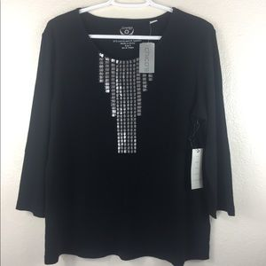 NWT Black Sequined Ribbed 3/4 Sleeve Knitted Top